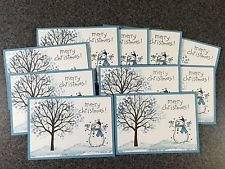 """Stampin' Up! Set of 10 Handmade Christmas Cards with Gift Box 3 1/2"""" X 4 7/8"""""""