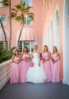 Long, formal #Pink #Bridesmaids #Dresses ♥ For an easy-to-follow 'Wedding Planning Guide' ... https://itunes.apple.com/us/app/the-gold-wedding-planner/id498112599?ls=1=8 ♥ For more wedding inspiration ... http://pinterest.com/groomsandbrides/boards/ & magical wedding ideas.