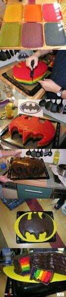 Rainbow Batman cake!