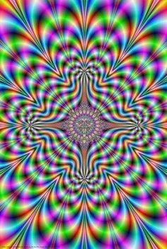 FRACTAL ILLUSION TRIPPY ACID LSD PSYCHEDELIC POSTER 61X91CM PICTURE PRINT