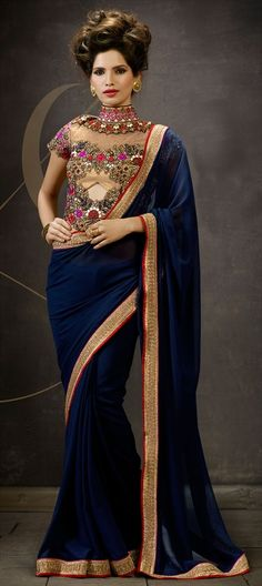 179909 Blue  color family Embroidered Sarees, Party Wear Sarees in Faux Georgette fabric with Border, Machine Embroidery, Resham, Stone, Thread, Zari work   with matching unstitched blouse.