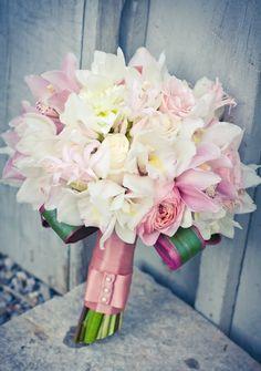 pastel pink soft baby pink wedding bouquet