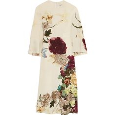 Valentino Cape-back floral-print silk midi dress (£2,120) ❤ liked on Polyvore featuring dresses, valentino, vestidos, floral print midi dress, floral dresses, multi color dress, flower print dress and kimono dress