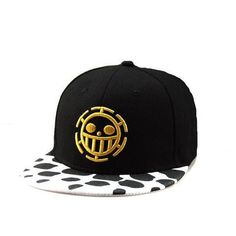 Otaku Picks One Piece Heart Pirates Snapback Hat - The snapback is black  featuring the iconic One Piece heart pirates emblem in gold yellow on the  front of ... cc753aa69272