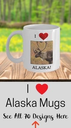 Caribou Mug - Alaska Gift - White Ceramic Coffee Cup This is the perfect gift for the person who loves the state of Alaska. Printing on both sides of mug for both left- and right-handers Dishwasher and microwave safe. Print will not fade no matter how many times mug is washed. Lead and cadmium free with high-quality Orca coating.