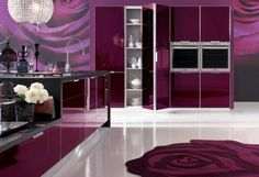 Floral Shaped Shag Rug in Amazing Purple Kitchen Also Luxury Pendant Lamp with Side by Side Single Wall Oven