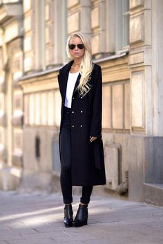 black coat with leather trousers