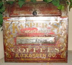 Kasper's High Grade Coffee Vintage Tins, Vintage Coffee, Coffee Tin, Decorative Boxes, Canning, Antiques, Style, Antiquities, Swag