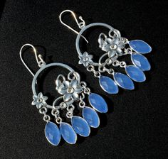Blue Chalcedony Flower Hoop Charm Earrings / by gemsnjewelryworld