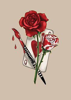 #aliceinwonderland #red #white #rose #drawing #art #tattoo #design