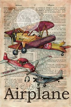Vintage Airplane Drawing on Distressed, Dictionary Page  - flying shoes art studio (available at www.etsy.com/shop/flyingshoes