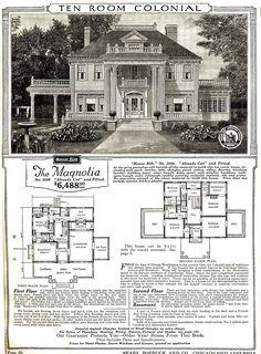 Catalog image and floorplan of Sears Magnolia model