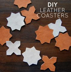 DIY Leather Coasters from DesignSponge Good use for leather scraps Diy Craft Projects, Diy Projects Design, Crafts, Diy Holiday Gifts, Diy Gifts, Handmade Gifts, Hostess Gifts, Leather Coasters, Leather Scraps