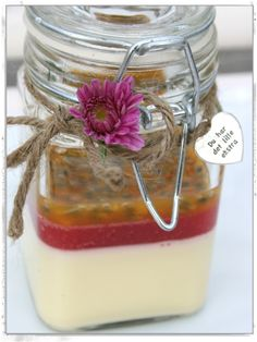 Panna cotta with raspberry and passion fruit