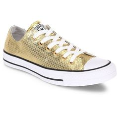 Converse Chuck Taylor All Star Metallic Leather Low-Top Sneakers ($80) ❤ liked on Polyvore featuring shoes, sneakers, converse, converse shoes, leather lace up shoes, converse sneakers, low profile sneakers and rubber sole shoes