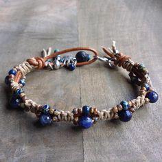 Sodalite bohemian bracelet boho chic bracelet rustic bracelet