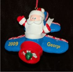 Santa's Biplane - Personalized First Christmas Ornament