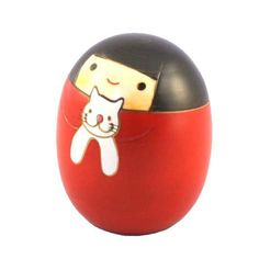 Kokeshi Doll cat sally (K12-4303) Kokeshi Dolls are major dolls in Japan which are made from wood. Their origin was in Edo era (1603A.D. - 1867A.D.) as souvenirs for the injured at hotsprings. Since t