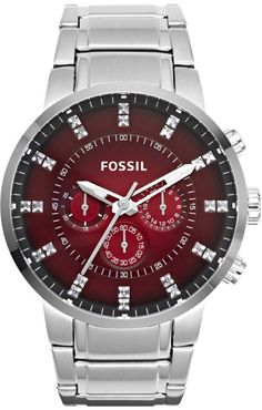 Fossil Men's Machine FS4696 Silver Stainless-Steel Quartz Watch with Red Dial < $149.95 > Fossil Watch Men