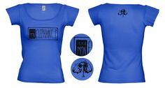 """Tee-shirt femme Bleu grand Bleu Création de t-shirts avec des créateurs du collectif """"T'as pas vu mon éléphant?"""" Site de créations fait main et d'illustrations. www.tpvme.com"""