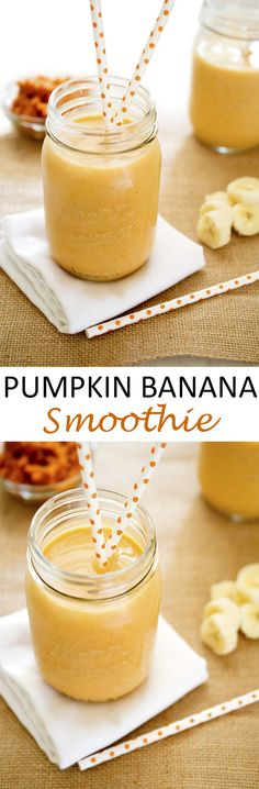 Heart healthy fiber packed Pumpkin Banana Smoothie made with Greek yogurt, milk, and pumpkin puree! Perfect way to start your day. | chefsavvy.com #recipe #pumpkin #smoothie #healthy