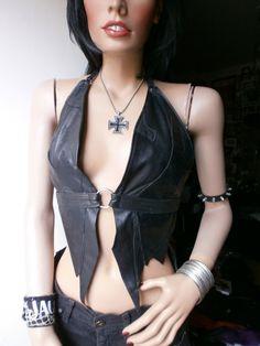 Black leather halter top / open back waistcoat by ShandiHighway, €65.00