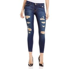J Brand Low-Rise Cropped Skinny Jeans in Demented ($198) ❤ liked on Polyvore featuring jeans, demented, j-brand skinny jeans, ripped skinny jeans, super skinny jeans, low rise jeans and blue jeans