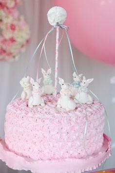 Bunny maypole cake