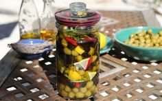 Look at this recipe - Olives Bottled with Lemon and Herbs - from Jenny Morris and other tasty dishes on Food Network. Herb Recipes, My Recipes, Cooking Recipes, Food Network Uk, Food Network Recipes, Jenny Morris, How To Dry Oregano, Tasty Dishes