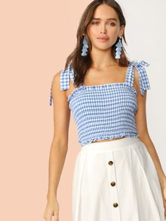 To find out about the Tie Strap Frilled Gingham Shirred Top at SHEIN, part of our latest Tank Tops & Camis ready to shop online today! Belted Shirt Dress, Tweed Dress, Striped Dress, Gingham Dress, Julia Jasmin, Elegant Dresses, Clothes For Women, Diy Clothes, Fashion Clothes