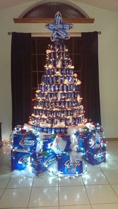 Bud Light Beer can Christmas Tree Beer Can Christmas Tree, Redneck Christmas, Unique Christmas Trees, Handmade Christmas Decorations, Christmas Lights, Christmas Crafts, Xmas, Christmas Ideas, Merry Christmas