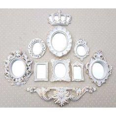 Kit 9 Molduras Ouro Provençal Já Com Espelhos Decorativos - R$ 90,00 no MercadoLivre