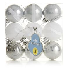 Wilko Christmas Decorations Shiny/Pearl/Glitter   Mixed Finishes Enchantment 40mm 9pk