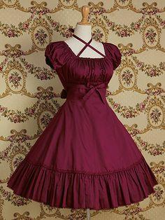 Bandage with Necklace Bow Sash Short sleeves Gothic Ruffle Lolita dress Elegant Dresses, Pretty Dresses, Vintage Dresses, Beautiful Dresses, Vintage Outfits, Formal Dresses, Wedding Dresses, Harajuku Fashion, Kawaii Fashion