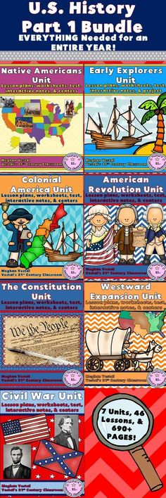 U.S. History Part 1 Bundle comes with EVERY lesson and activity needed to teach U.S. History Part 1 (Native Americans – Civil War) for an ENTIRE YEAR at a discounted price!  Altogether, this whole year U.S. History Bundle includes 690+ pages and 46 lessons!