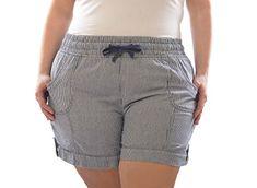 [27224XR-BLU-1X] Plus Size Womens Stretch Denim Nautical Striped Sailor Shorts