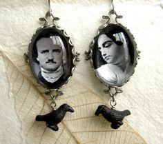 Edgar Allen and Virginia Poe Earrings - Gothic Couple Series.. - PersephonePlus