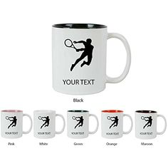 Personalized Custom Tennis Player 11 oz White Ceramic Coffee Mug with White Gift Box * You can find more details by visiting the image link.