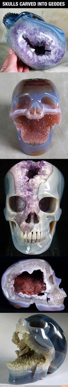 Skulls carved into Geodes