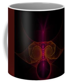 Anna Maloverjan Coffee Mug featuring the digital art Alien Fractal by Anna Maloverjan  fractal, light, ufo, alien, space, flowers, art, glow, render, abstract, background, multicolored, design, element, creative, graphic, illustration, technology, motion, chaos, geometric, futuristic, wallpaper, effect, magic, surreal, fantasy, shine, rendering, paranormal, character, eye, fear, humanoid, monster