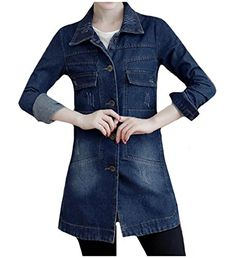c975198a286da CrazyDay Womens Turn Down Collar Long-Sleeve Plus Size Elegant Cardi Silm Fit  Jean Jacket
