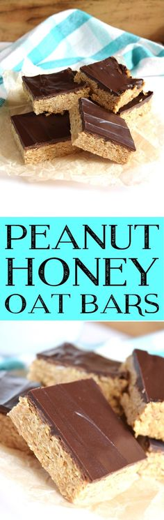 Even a dieter needs a treat once in a blue moon. I made these Peanut Honey Oat Bars so that I could have a bite or two without feeling guilty about cheating on my diet. I even used dark chocolate… Best Cookie Recipes, Healthy Dessert Recipes, Brownie Recipes, Easy Desserts, Delicious Desserts, Snack Recipes, Bar Recipes, Pumpkin Recipes, Sweet Recipes
