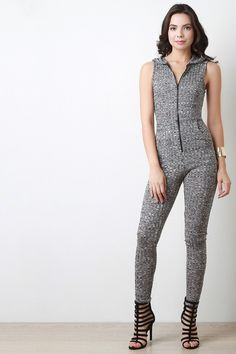 Marled Ribbed Knit Hooded Jumpsuit