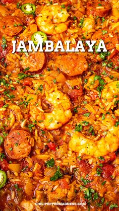 This jambalaya recipe is the best Cajun comfort food and so easy to make, with loads of shrimp, smoked andouille sausage, chicken, and plenty of spices. Cajun Cooking, Cooking Recipes, Donut Recipes, Spanish Food Recipes, Creole Cooking, Cajun Food, Kitchen Recipes, Crockpot Recipes, Homemade Jambalaya