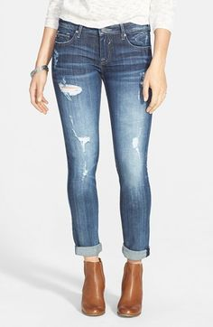 Best boyfriend fit jeans of all time and only $58! Vigoss 'Thompson Tomboy' Crop Jeans (Medium Wash) (Juniors)