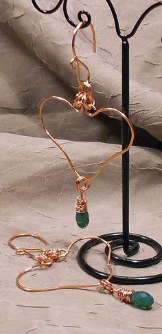 Copper Heart Earrings with Green Crystals. $40.00, via Etsy.