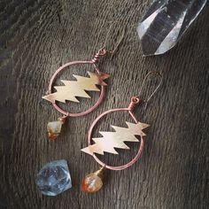 Grateful Dead Bolt earrings / 13 points /citrine / hoop handmade jewelry / jerry garcia / dead and company / heady phish