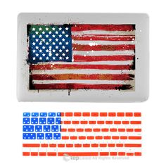"""TOP CASE - 2 in 1 Bundle Deal Retina 13-Inch United States National Flag Hard Case Cover + US Flag Keyboard Cover for MacBook Pro 13"""" with Retina Display Model A1425 / A1502 - US Flag"""