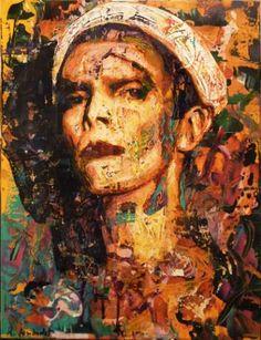 """Saatchi Art Artist Rémi Jouandet; Painting, """"David Bowie as white Clown by Rémi…"""