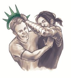 [Image: Steve Rogers and Bucky Barnes laughing and play-fighting, as Bucky tries to put a Statue of Liberty hat on Steve.]  moonriot:  goddamn dorks need to get a room
